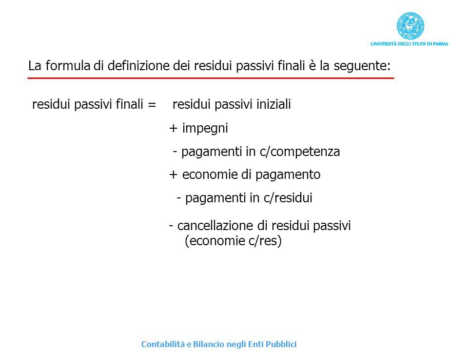La formula di definizione dei residui passivi finali è la seguente: