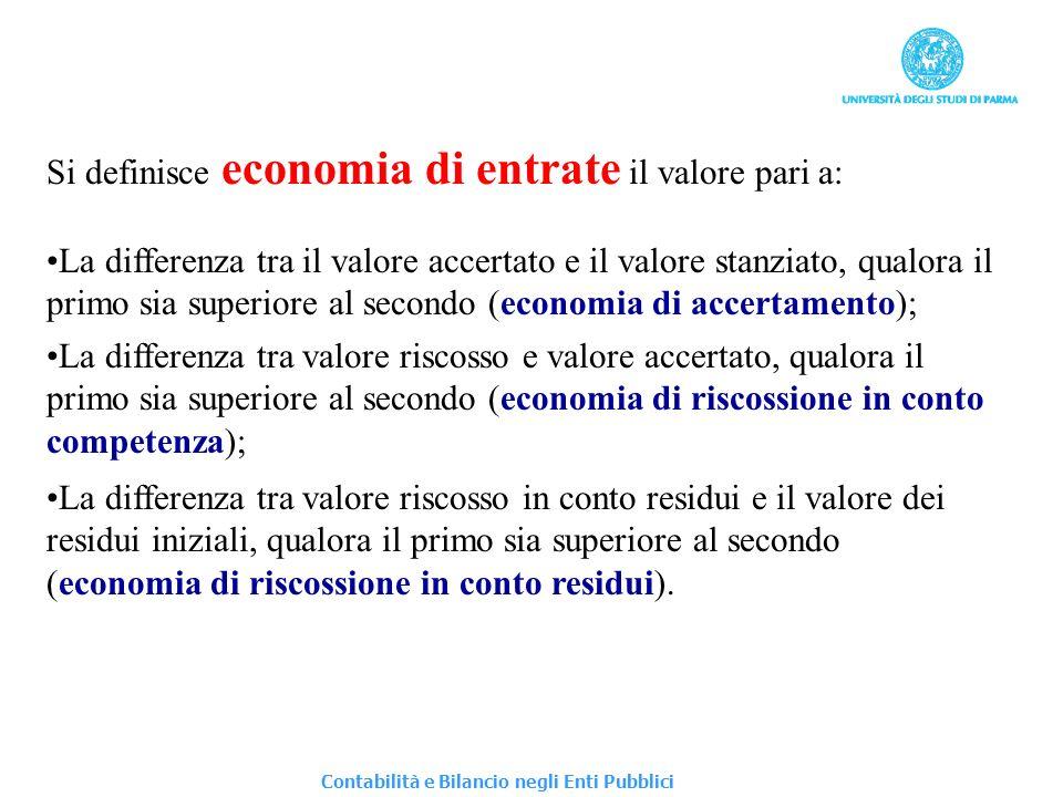 Si definisce economia di entrate il valore pari a: