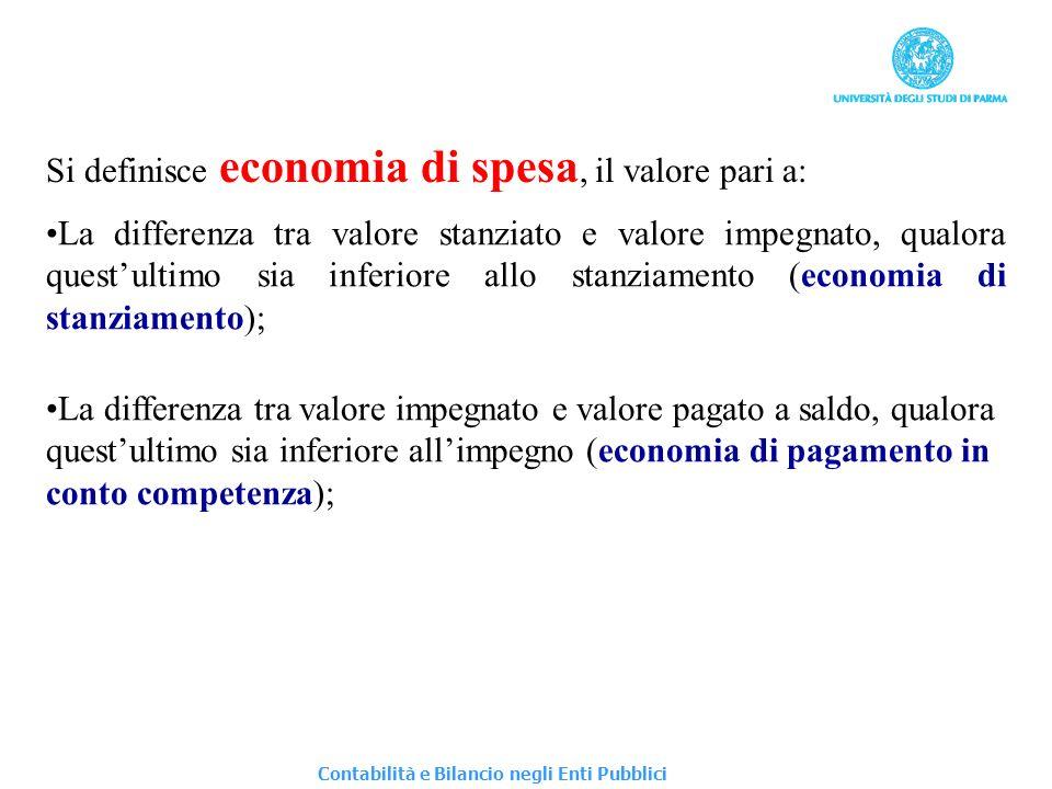Si definisce economia di spesa, il valore pari a:
