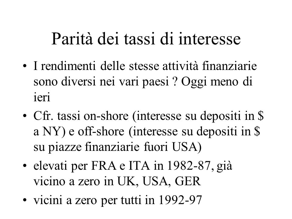 Parità dei tassi di interesse