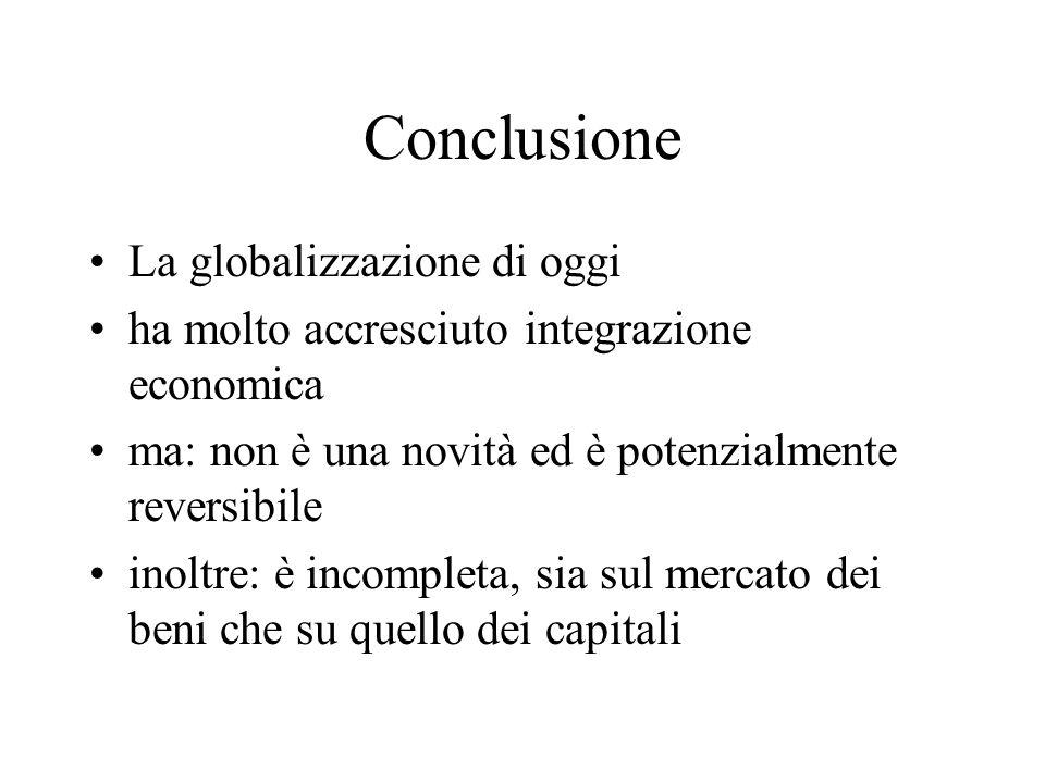 Conclusione La globalizzazione di oggi
