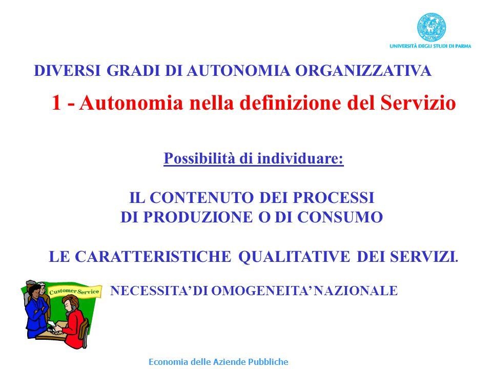 1 - Autonomia nella definizione del Servizio