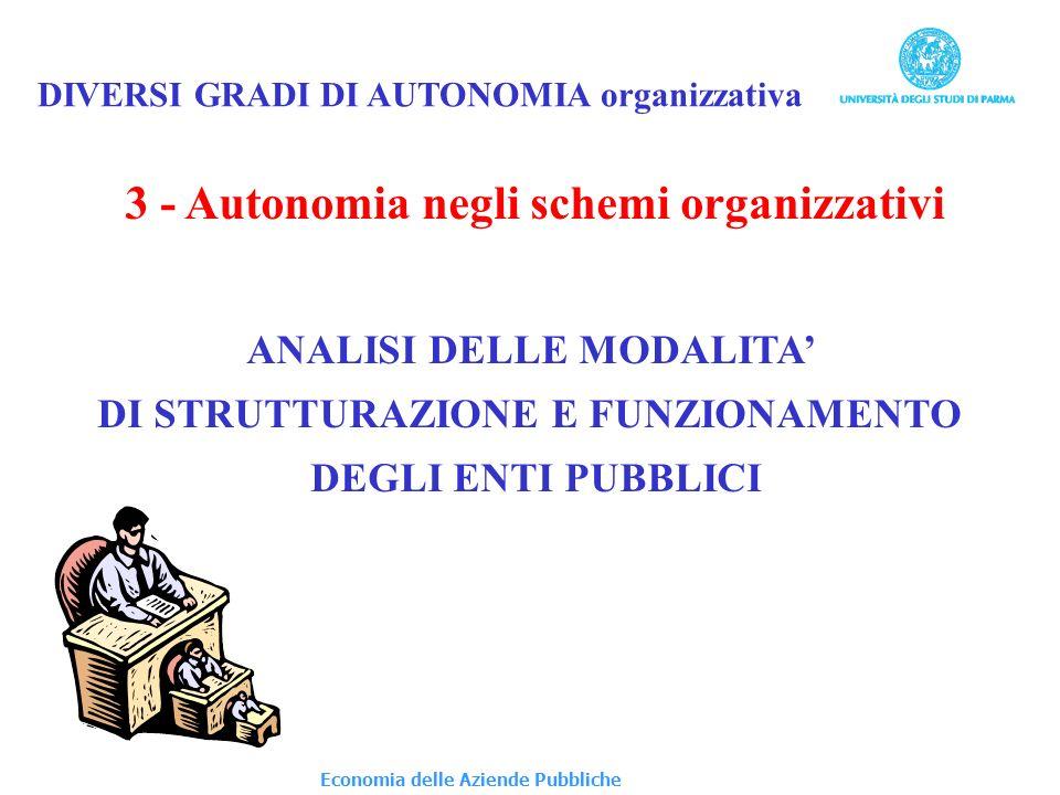 3 - Autonomia negli schemi organizzativi