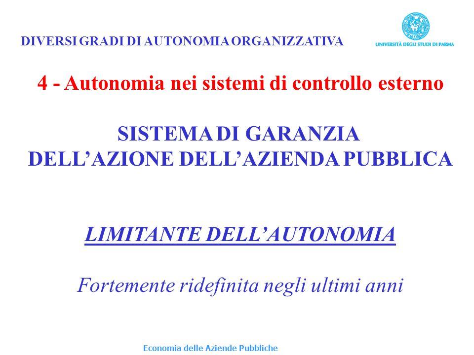 4 - Autonomia nei sistemi di controllo esterno SISTEMA DI GARANZIA
