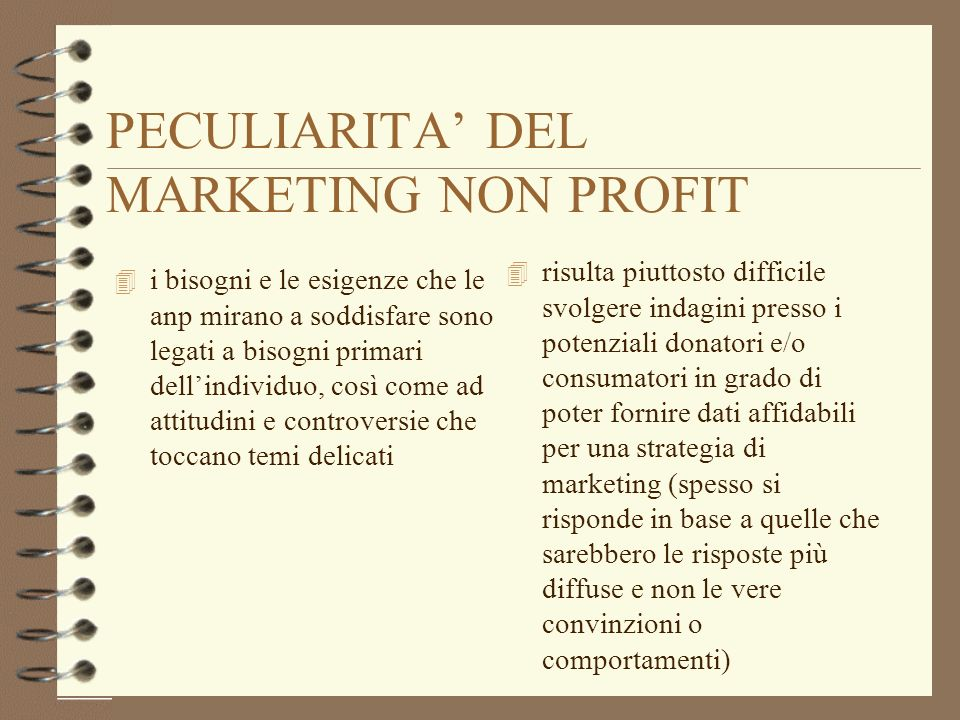 PECULIARITA' DEL MARKETING NON PROFIT