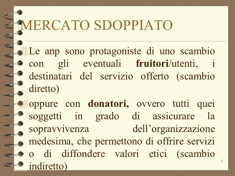 MERCATO SDOPPIATO Le anp sono protagoniste di uno scambio con gli eventuali fruitori/utenti, i destinatari del servizio offerto (scambio diretto)