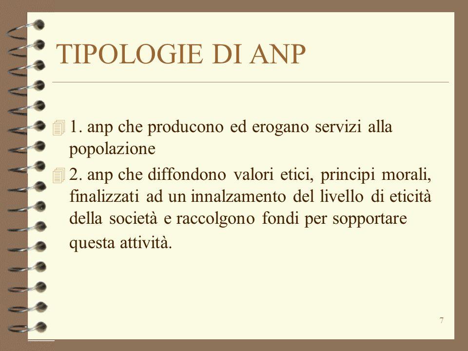 TIPOLOGIE DI ANP 1. anp che producono ed erogano servizi alla popolazione.