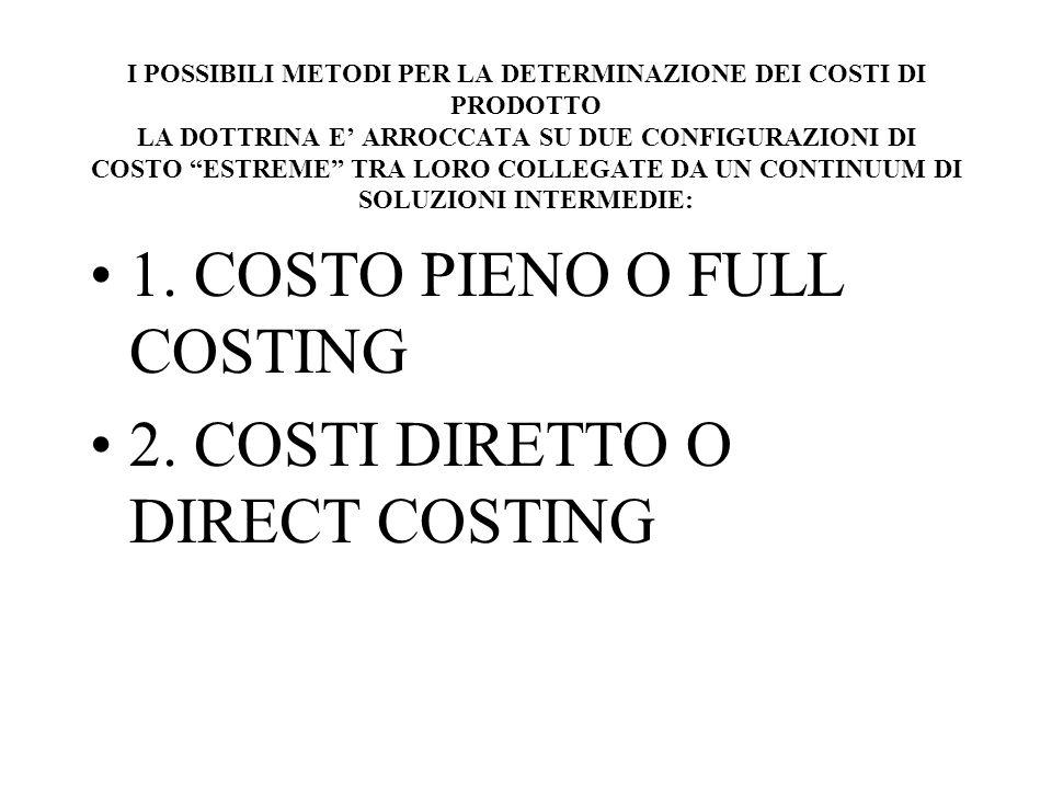 1. COSTO PIENO O FULL COSTING 2. COSTI DIRETTO O DIRECT COSTING