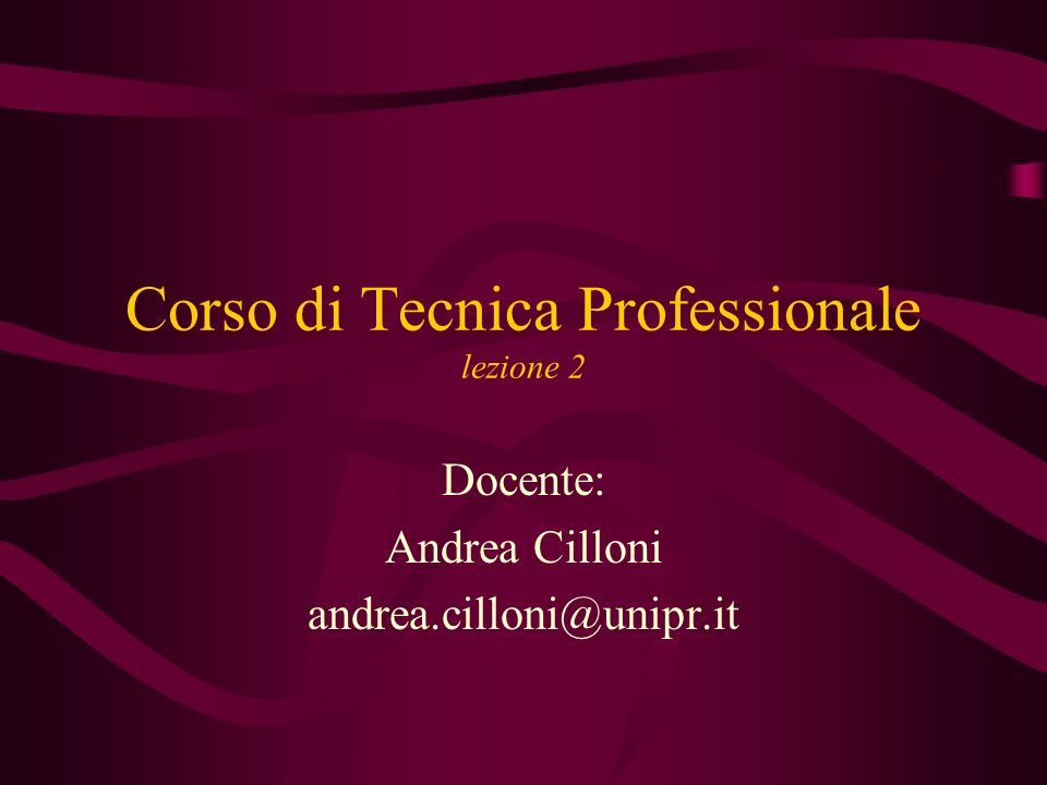 Corso di Tecnica Professionale lezione 2