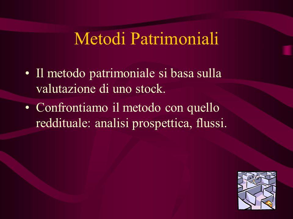 Metodi Patrimoniali Il metodo patrimoniale si basa sulla valutazione di uno stock.