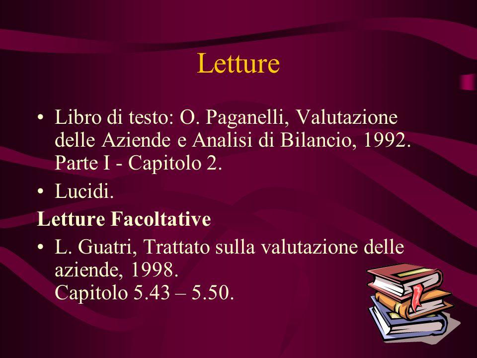 Letture Libro di testo: O. Paganelli, Valutazione delle Aziende e Analisi di Bilancio, 1992. Parte I - Capitolo 2.