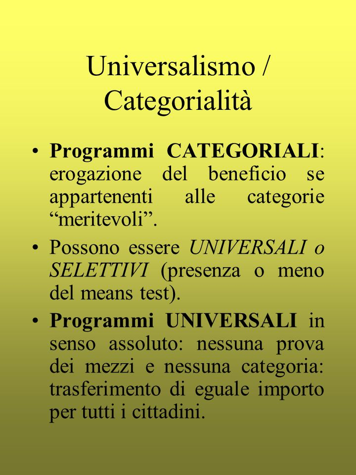 Universalismo / Categorialità