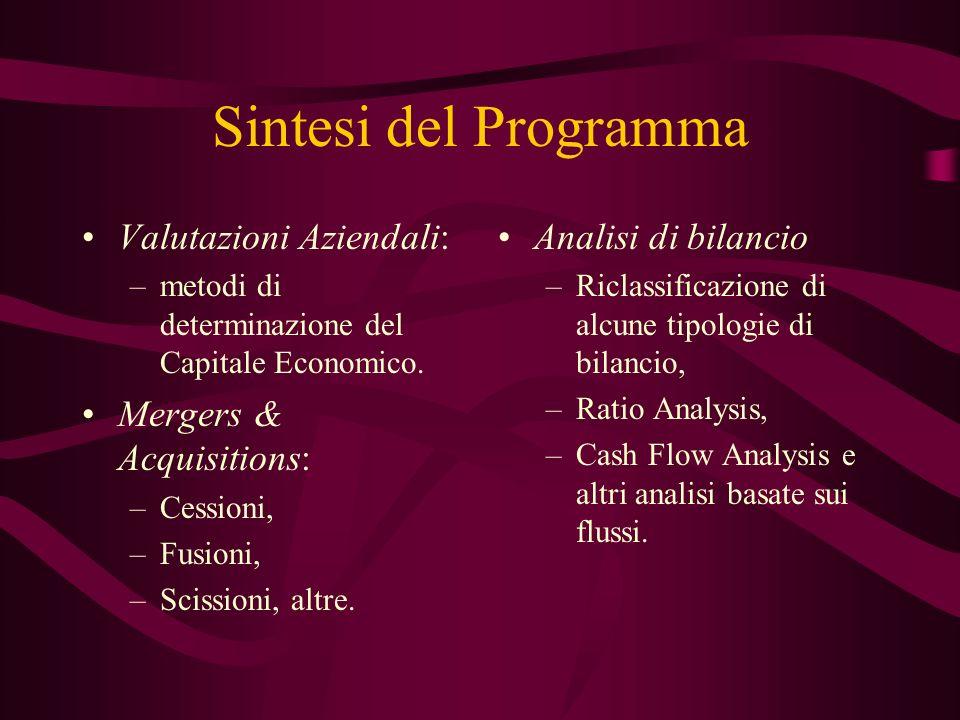 Sintesi del Programma Valutazioni Aziendali: Mergers & Acquisitions: