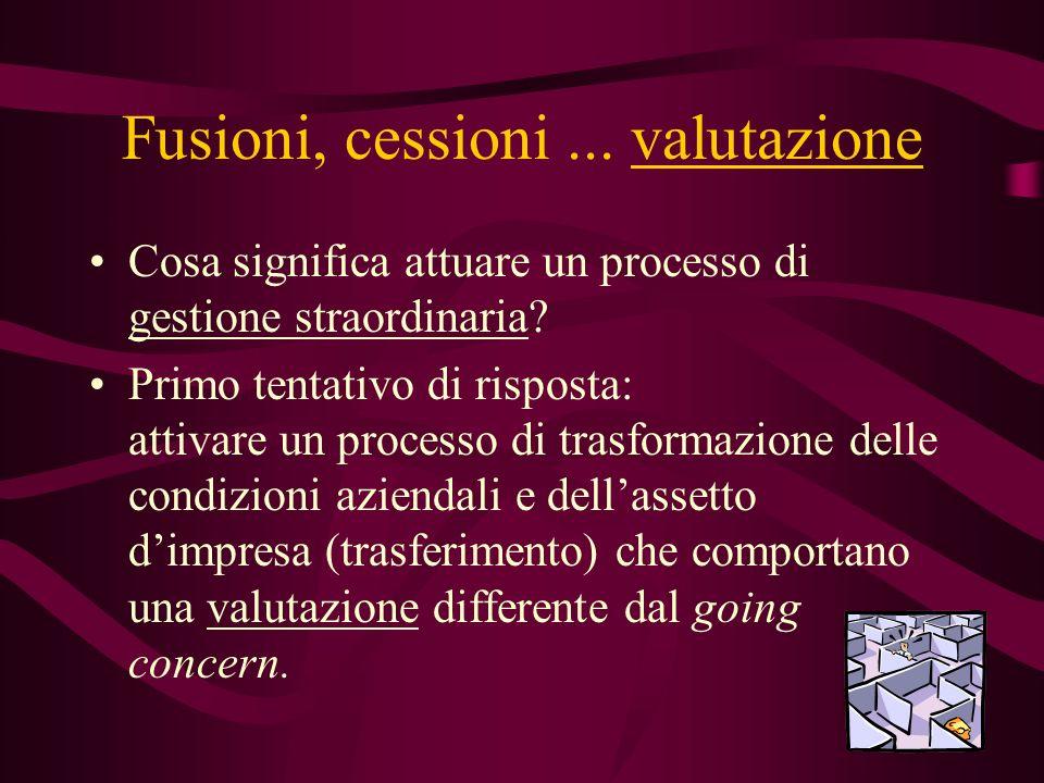 Fusioni, cessioni ... valutazione
