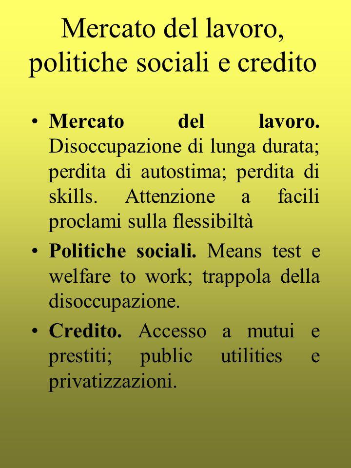 Mercato del lavoro, politiche sociali e credito