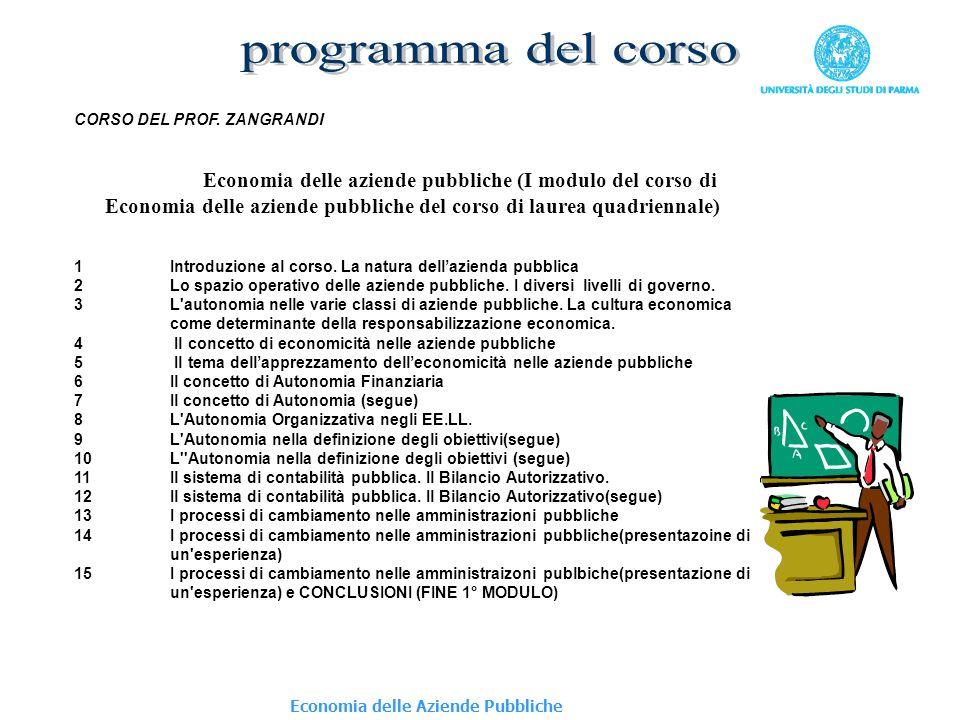programma del corso CORSO DEL PROF. ZANGRANDI.