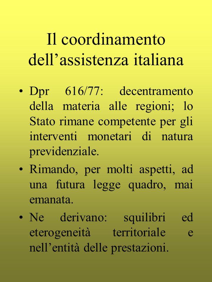 Il coordinamento dell'assistenza italiana