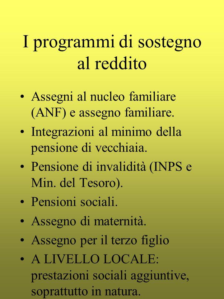 I programmi di sostegno al reddito