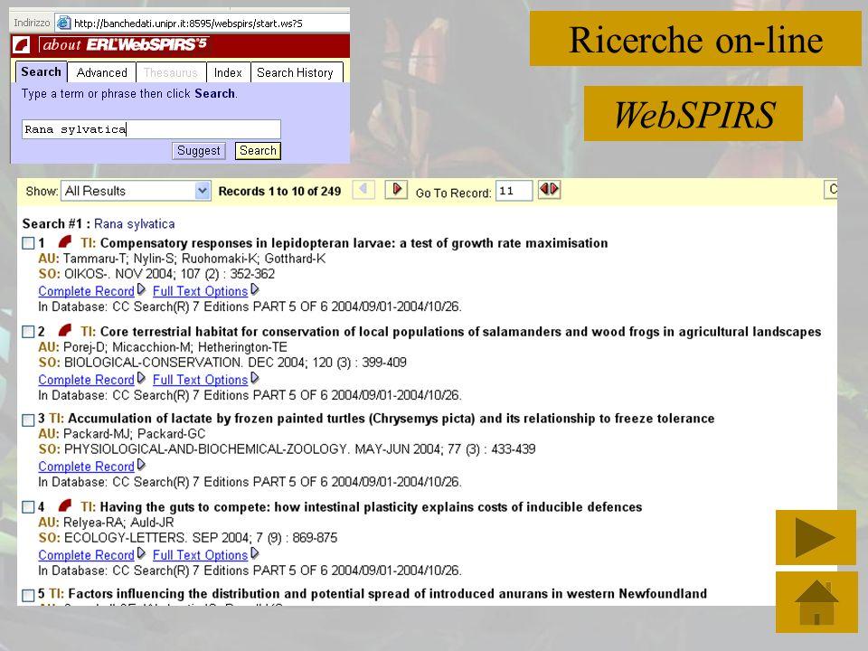 Ricerche on-line WebSPIRS