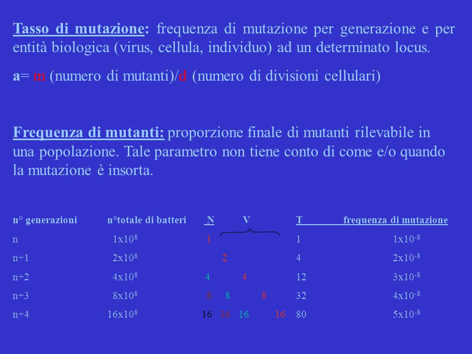 a= m (numero di mutanti)/d (numero di divisioni cellulari)
