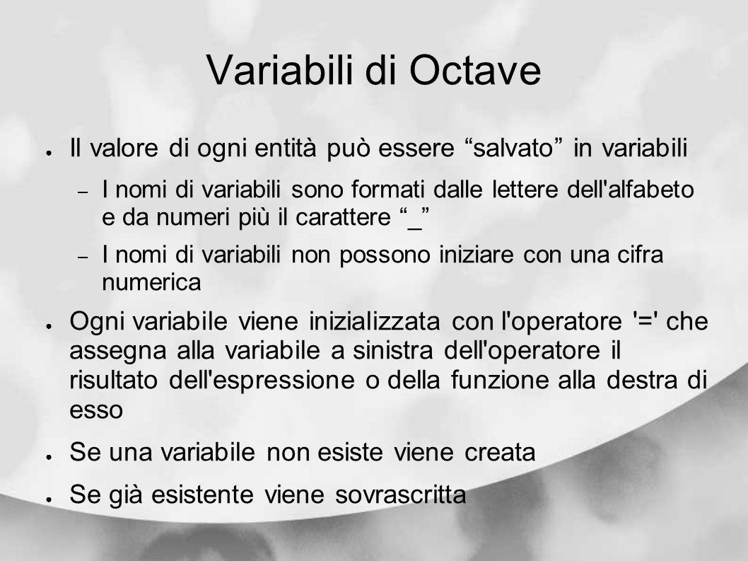 Variabili di Octave Il valore di ogni entità può essere salvato in variabili.