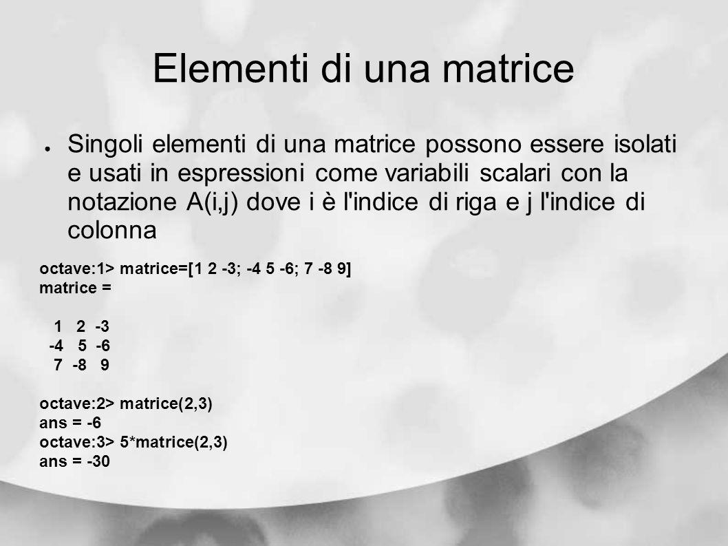 Elementi di una matrice