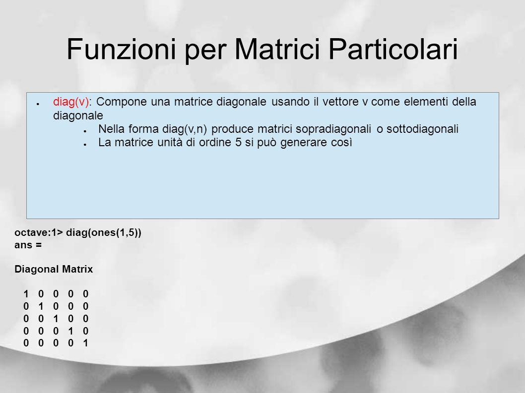 Funzioni per Matrici Particolari