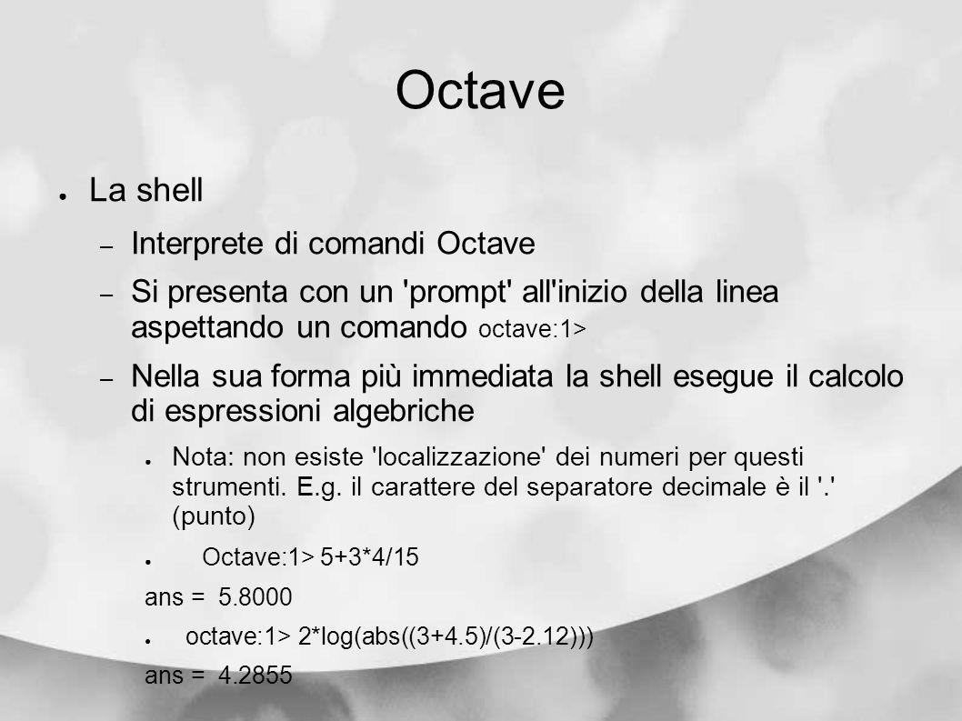 Octave La shell Interprete di comandi Octave