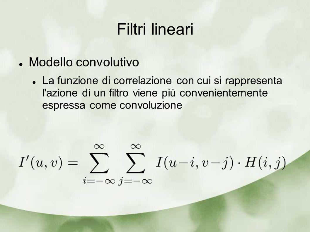Filtri lineari Modello convolutivo