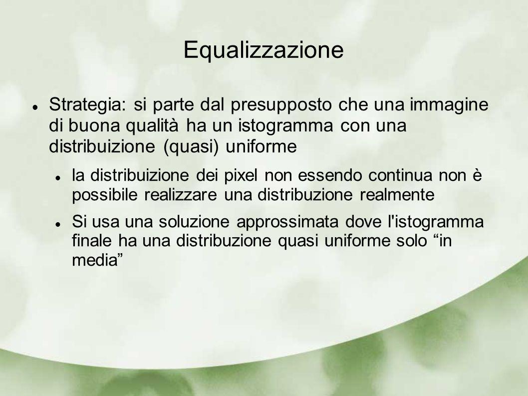 Equalizzazione Strategia: si parte dal presupposto che una immagine di buona qualità ha un istogramma con una distribuizione (quasi) uniforme.