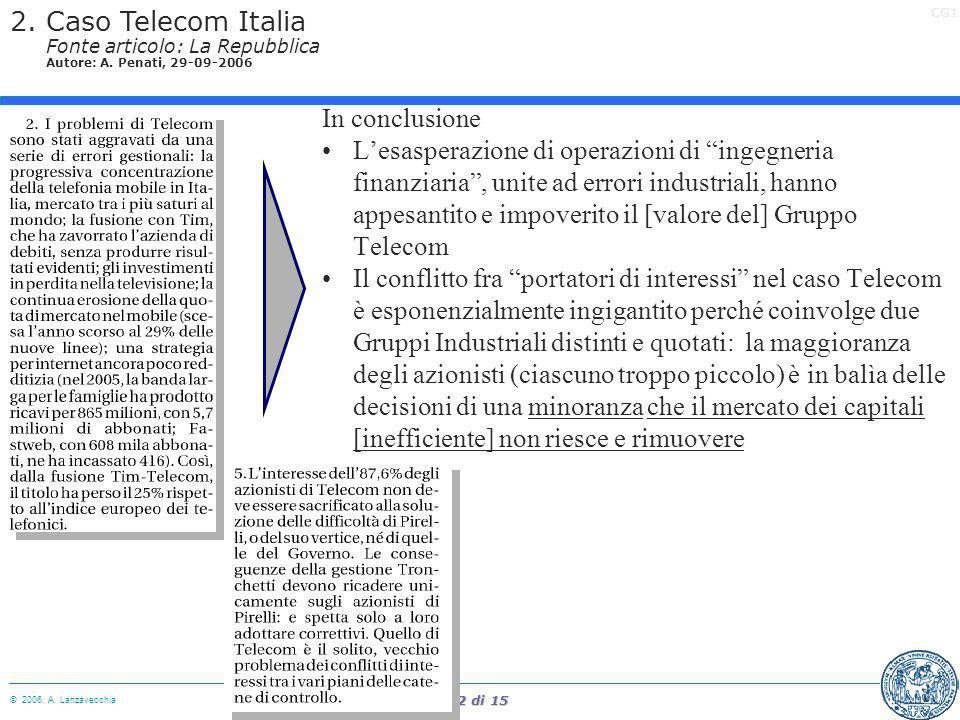 2. Caso Telecom Italia Fonte articolo: La Repubblica Autore: A