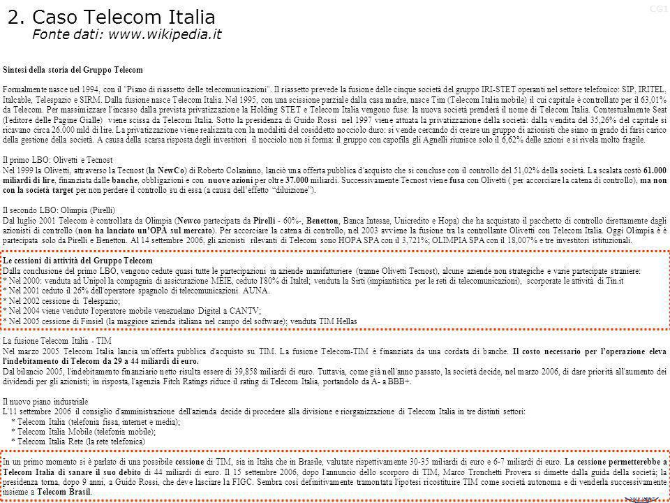 2. Caso Telecom Italia Fonte dati: www.wikipedia.it