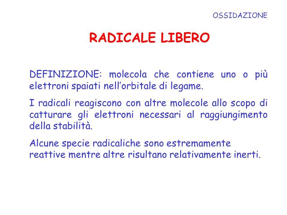 OSSIDAZIONE RADICALE LIBERO. DEFINIZIONE: molecola che contiene uno o più elettroni spaiati nell'orbitale di legame.