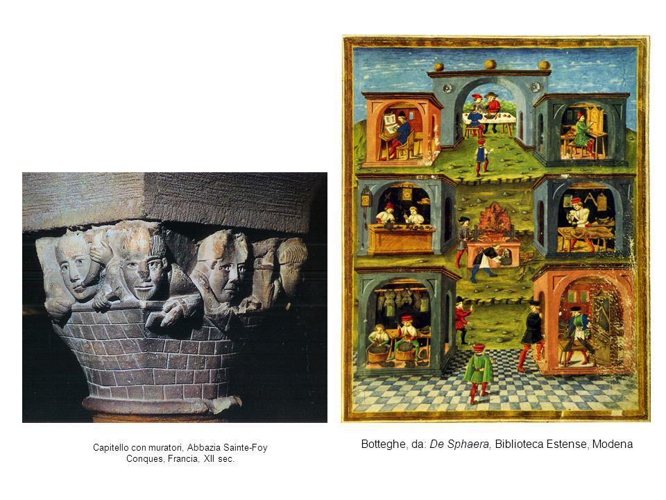 Capitello con muratori, Abbazia Sainte-Foy Conques, Francia, XII sec.