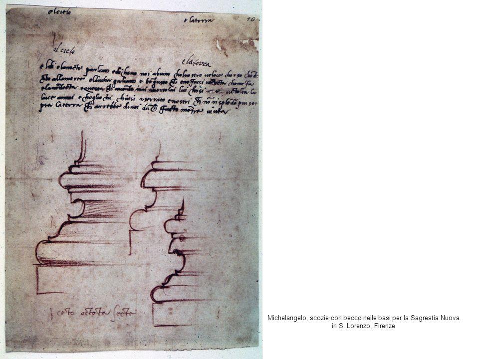 Michelangelo, scozie con becco nelle basi per la Sagrestia Nuova in S