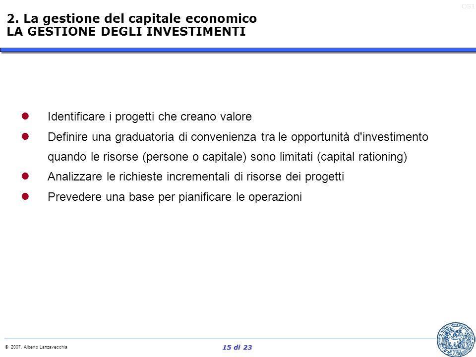 2. La gestione del capitale economico LA GESTIONE DEGLI INVESTIMENTI