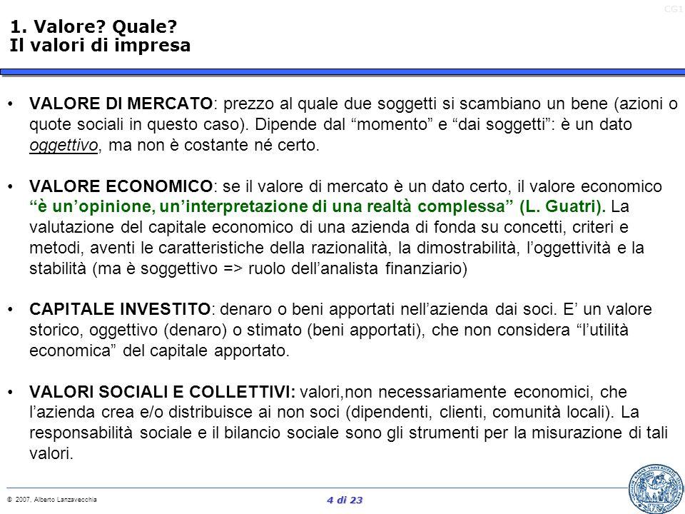 1. Valore Quale Il valori di impresa.