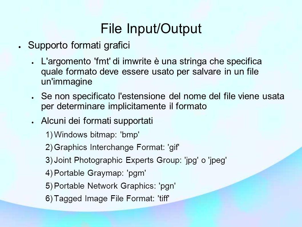File Input/Output Supporto formati grafici