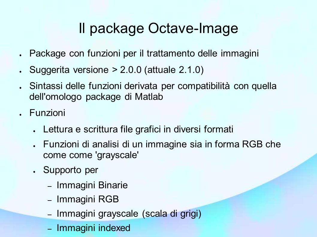 Il package Octave-Image