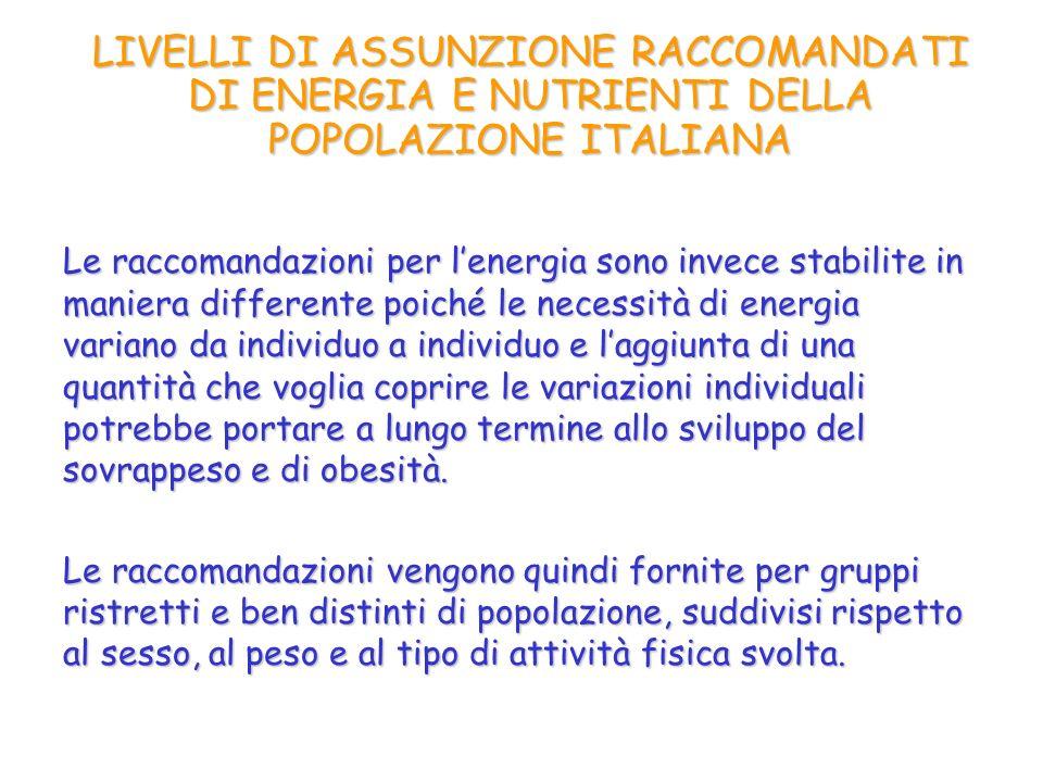 LIVELLI DI ASSUNZIONE RACCOMANDATI DI ENERGIA E NUTRIENTI DELLA POPOLAZIONE ITALIANA