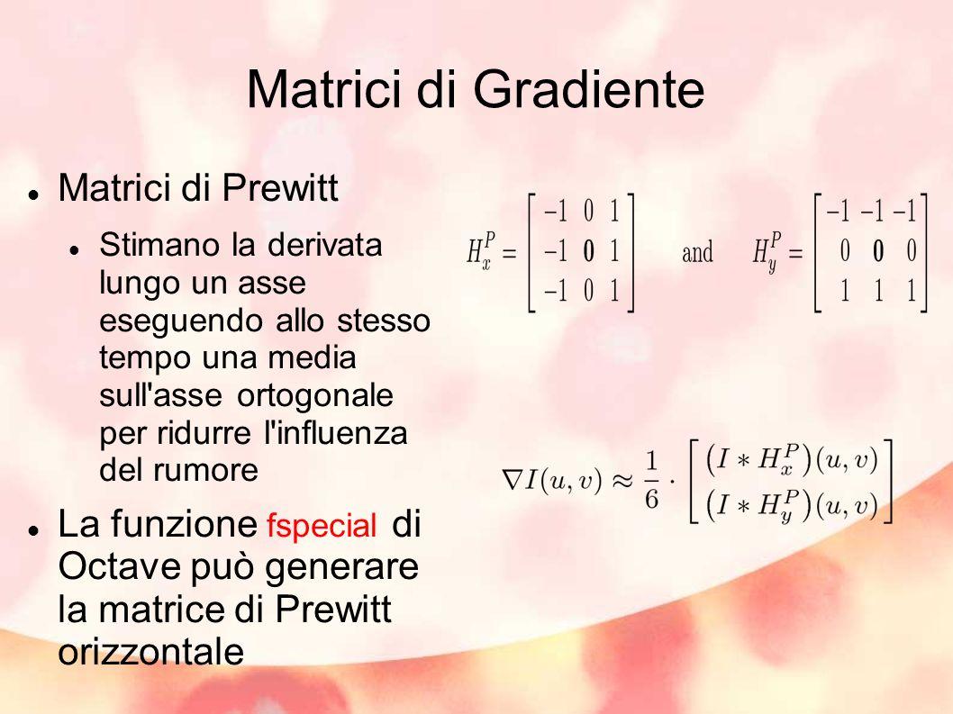 Matrici di Gradiente Matrici di Prewitt