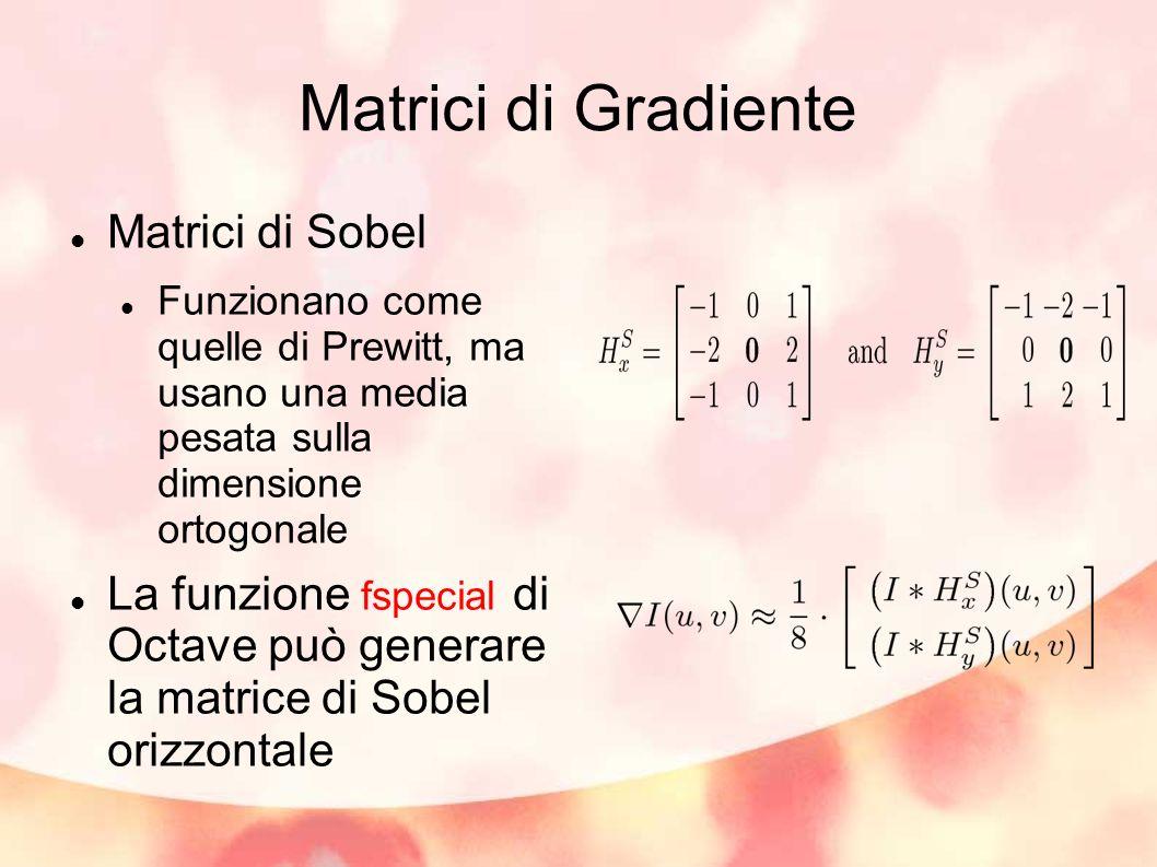 Matrici di Gradiente Matrici di Sobel