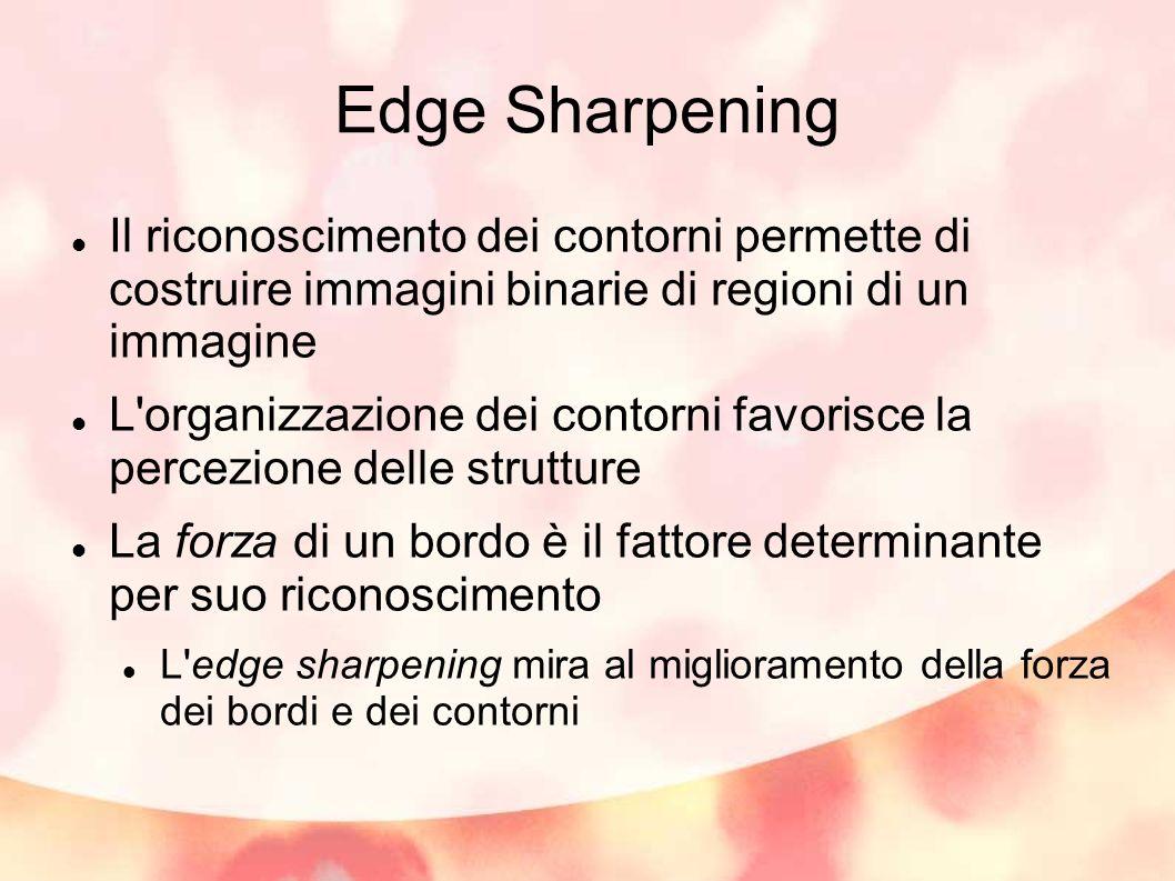 Edge Sharpening Il riconoscimento dei contorni permette di costruire immagini binarie di regioni di un immagine.