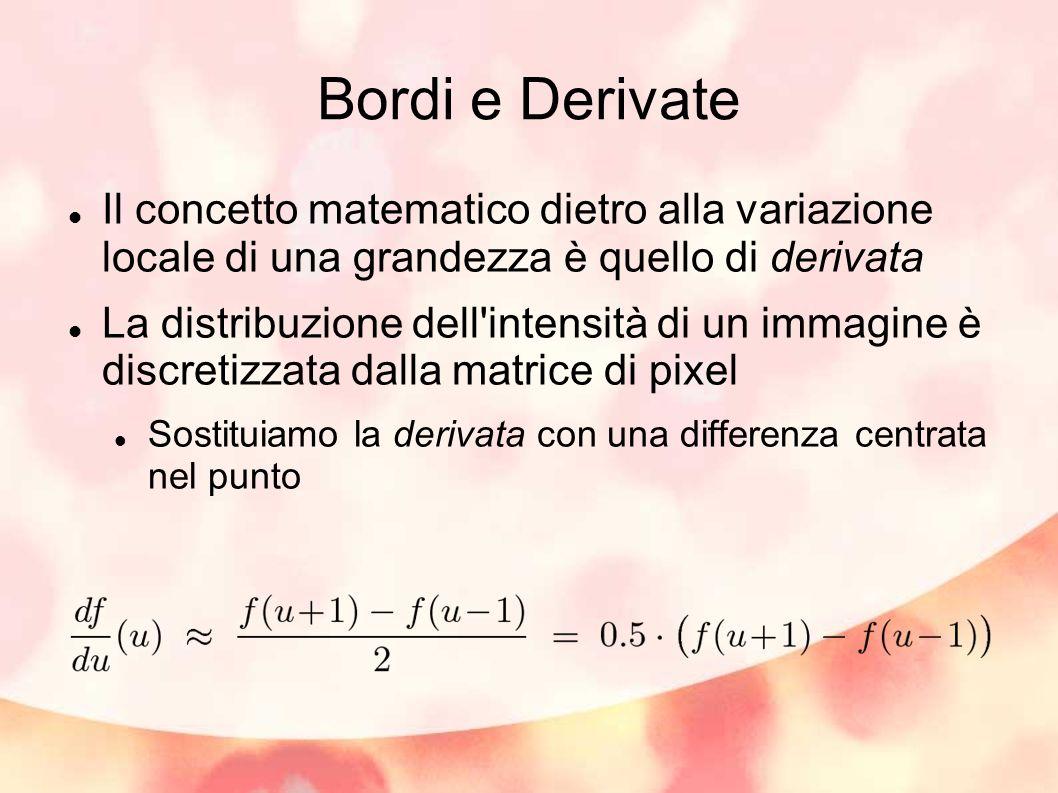 Bordi e Derivate Il concetto matematico dietro alla variazione locale di una grandezza è quello di derivata.