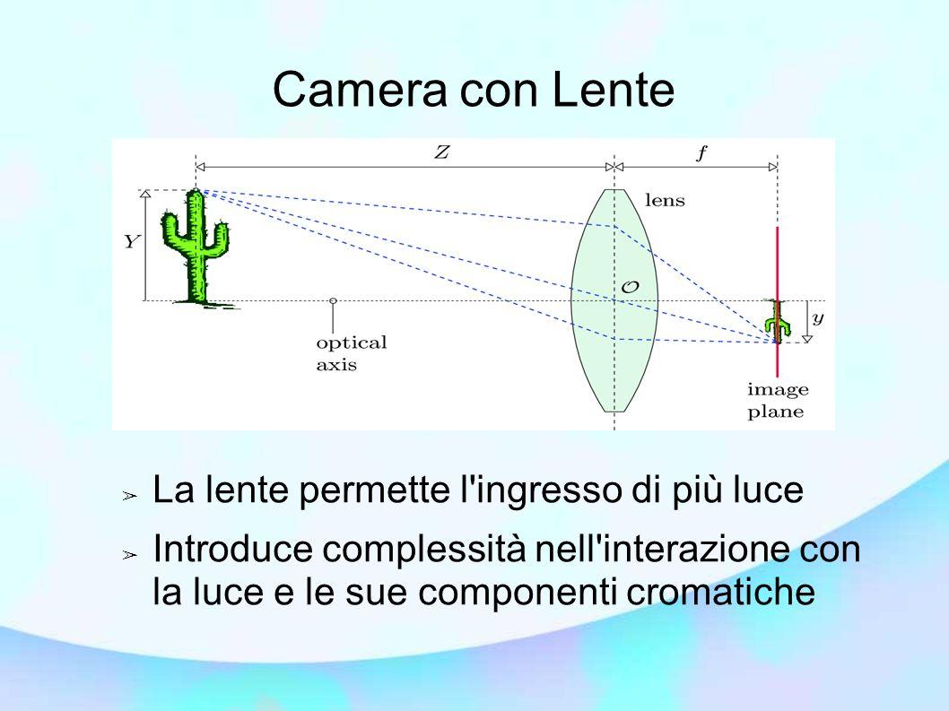 Camera con Lente La lente permette l ingresso di più luce
