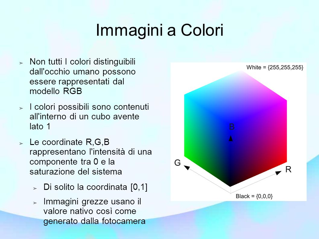 Immagini a Colori Non tutti I colori distinguibili dall occhio umano possono essere rappresentati dal modello RGB.