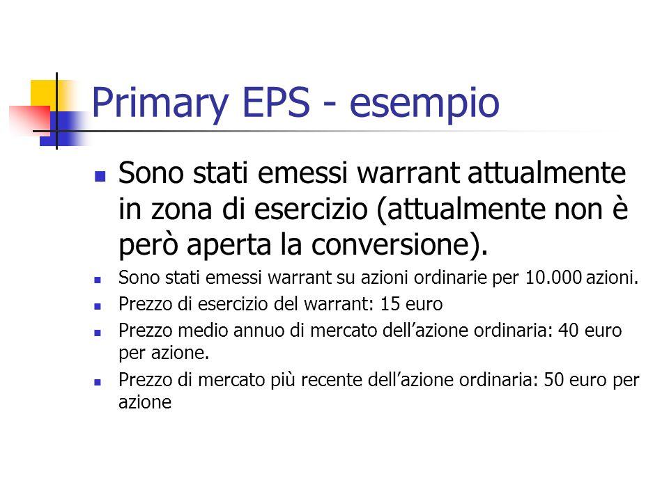 Primary EPS - esempio Sono stati emessi warrant attualmente in zona di esercizio (attualmente non è però aperta la conversione).