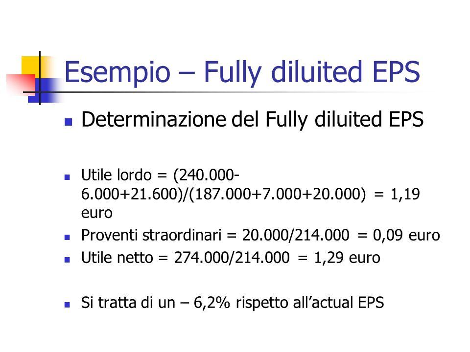 Esempio – Fully diluited EPS