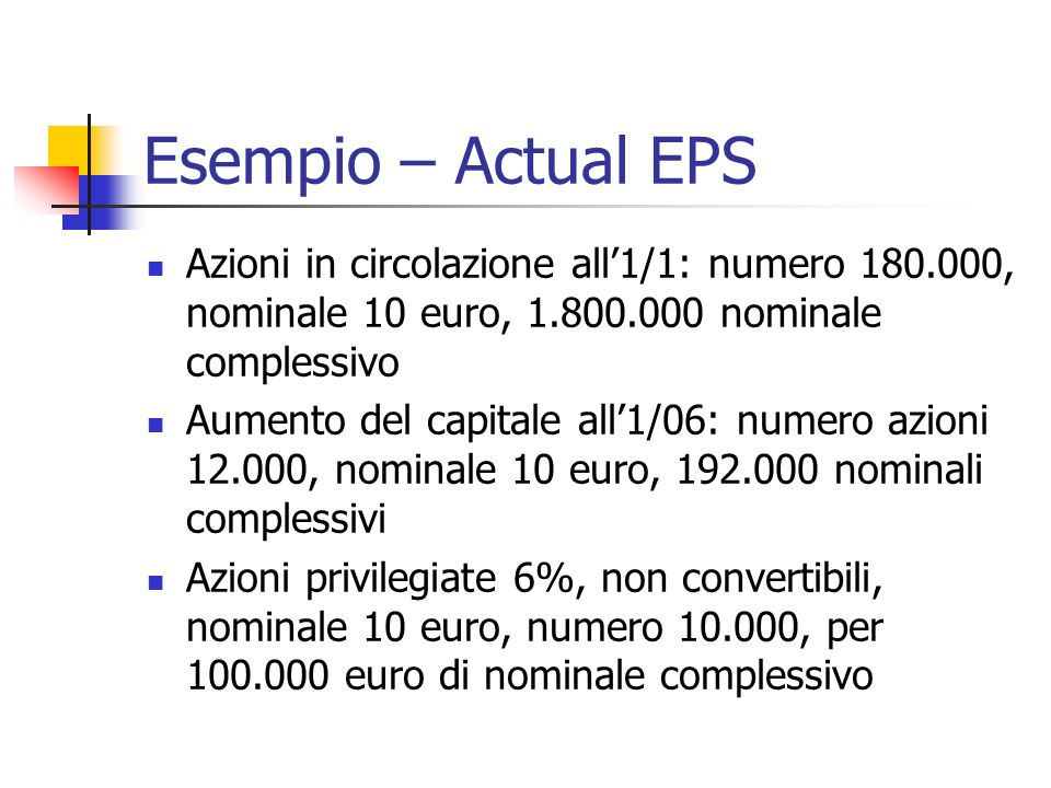 Esempio – Actual EPS Azioni in circolazione all'1/1: numero 180.000, nominale 10 euro, 1.800.000 nominale complessivo.