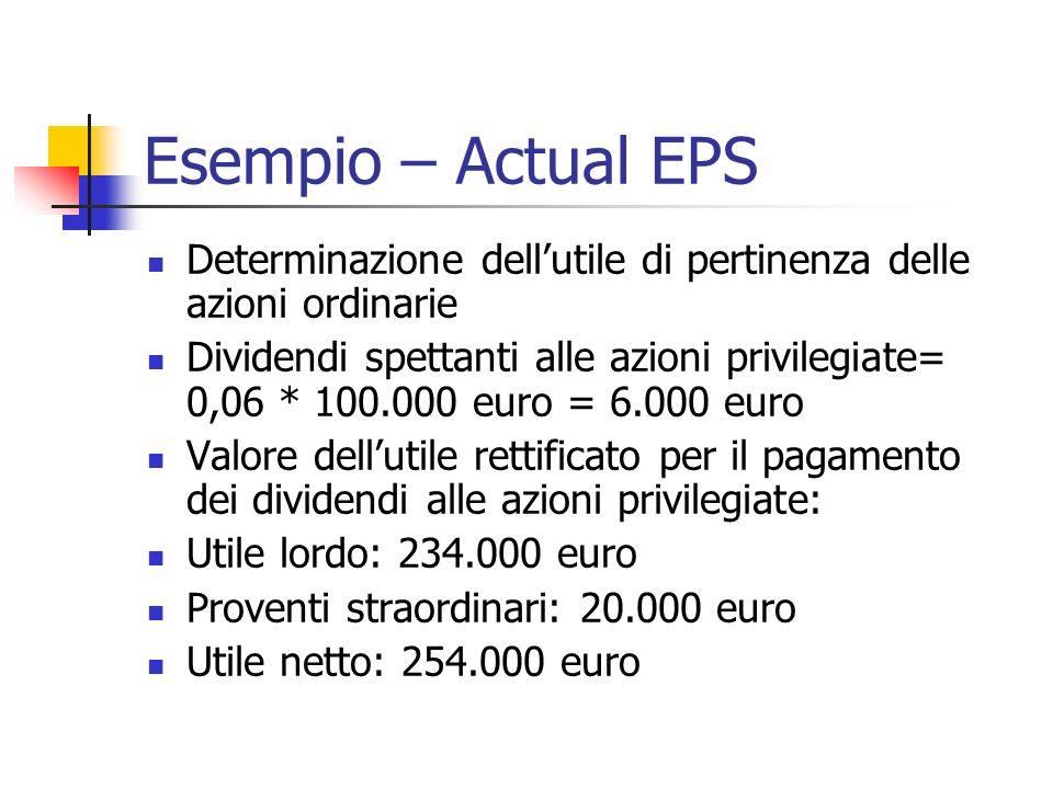 Esempio – Actual EPS Determinazione dell'utile di pertinenza delle azioni ordinarie.